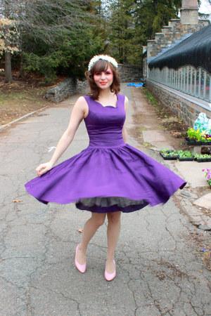 deep purple unique vintage dress - light pink thrifted heels
