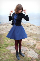 black BC footwear boots - navy polka-dotted coincidence & chance dress