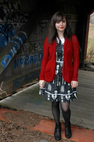 black bare traps boots - black skeleton print Folter Clothing dress