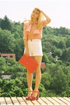 red red gold accent H&M bag - ivory high waisted Chanel shorts