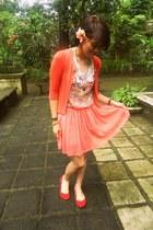 floral dress dress - cardigan - flats