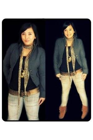 fringed boots - acid wash jeans - jacket - leopard print scarf - belt