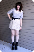 gray Forever 21 sweater - beige Urban Outfitters skirt - black Dr Martens boots