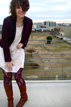 pink ruffian for anthropologie jacket - white Urban Outfitters dress - red meron