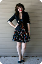 blue JCrew blazer - black Anthropologie dress - blue Rocketdog shoes
