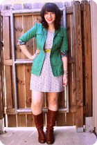 green Fossil jacket - blue Old Navy dress - brown Nine West boots