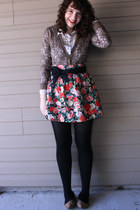 hot pink floral H&M skirt - camel studded Target shoes