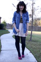 blue American Eagle shirt - dark brown JCrew shirt - off white Urban Outfitters