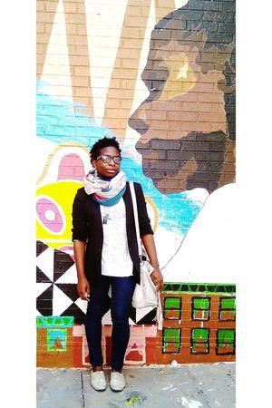 Zara blazer - Zara scarf - Zara shirt - Urban Outfitters jeans - Aldo accessorie