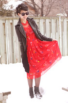 red moms old dress dress - black urban behavior jacket - maroon zenni optical su