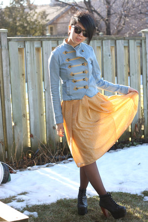 dark gray litas Jeffrey Campbell heels - mustard moms old dress vintage dress