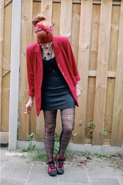 brick red vintage vintage blazer - ruby red tartan new look shoes