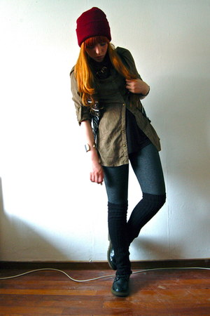 leather Doc Marten boots - hat - leggings - military Primark shirt