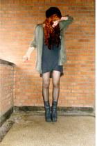 dark gray dragon tattoo H&M boots - charcoal gray dress
