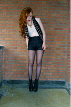 silver studded Ebay boots - black leather H&M shorts - cream lace H&M top