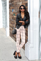 camel grid asos pants - black leather moto leather jacket