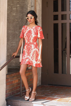 coral lace For Love and Lemons dress - neutral nude asos purse