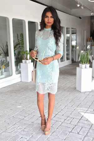 aquamarine lace For Love and Lemons dress