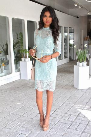 aquamarine lace For Love and Lemons dress