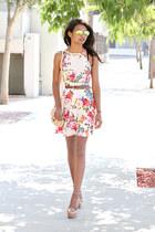 nude floral windsor dress - nude crossbody asos bag