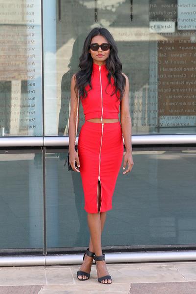 black cat eye asos sunglasses - red midi Missguided skirt
