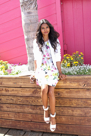 eggshell floral liz claiborne dress - white eyelet Stylus jacket