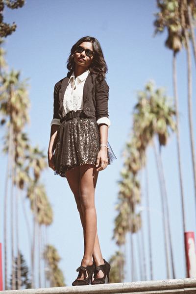 bronze sequin Lulus skirt - cream lace Lulus blouse