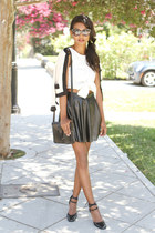 black leather lucca couture skirt