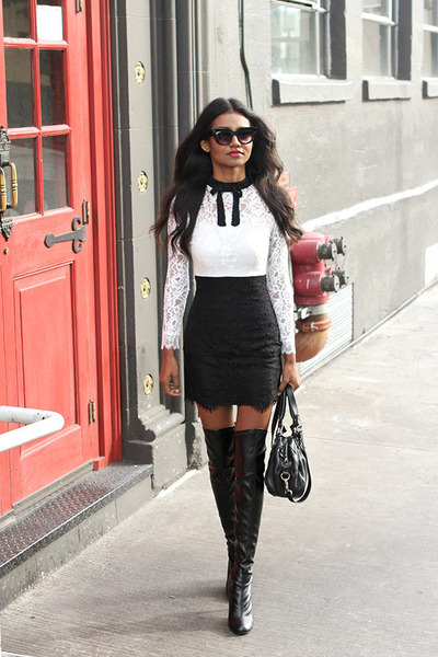 Dress With Thigh High Boots - Cr Boot