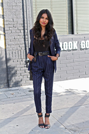 navy pinstripe Missguided suit