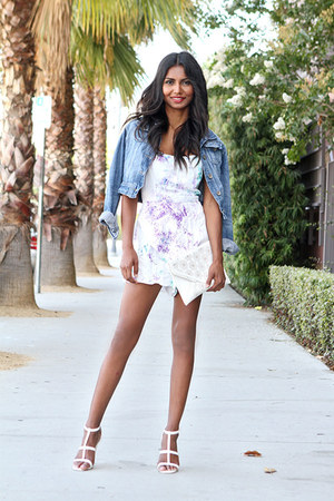 white strappy Missguided heels - navy denim Levis jacket
