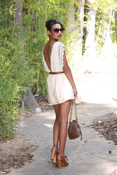 cream lace forwardtoallcom romper - burnt orange oxford Chloe heels
