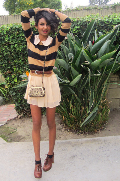 nude sheer Dahlia dress - burnt orange striped H&M Trend sweater