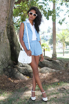 sky blue star print lucca couture shorts - sky blue star print lucca couture top