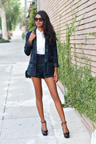forest green plaid Missguided blazer - forest green plaid Missguided shorts