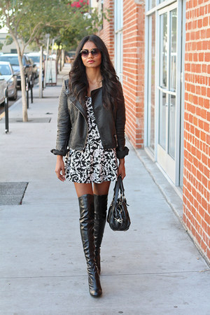 black leather Stella McCartney boots - black paisley Urban Outfitters dress