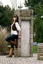 brown london boots - beige H&M shirt - brown H&M vest