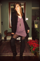 black vintage boots - black H&M socks - purple VHand-me-Down dress - black H&M c