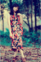 dress - rose vintage from Ebay ring - brown wedges J Brand wedges