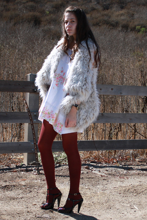 Zara vest - flea market dress - DKNY tights - gojanecom shoes - vintage accessor