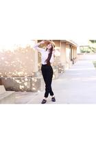 white American Apparel dress - black McQ pants - black cotton pancakes shoes