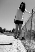 f21 shirt - American Apparel dress - gojanecom shoes