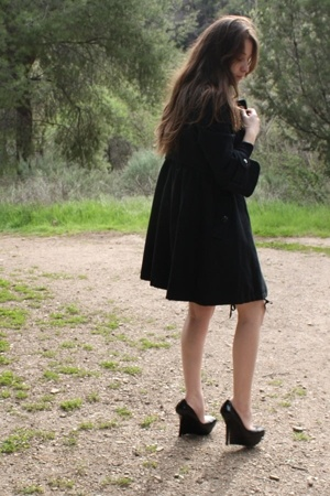Plastic Island coat - Bebe shoes - American Apparel shorts