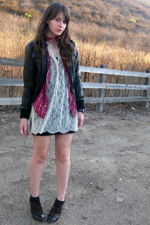 black faux leather f21 jacket - brown gojanecom shoes - beige lace vintage dress