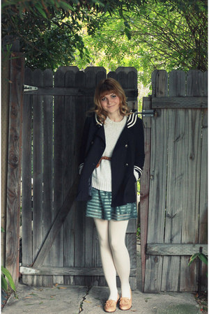 teal H&amp;M dress - navy Topshop coat - tan vintage shoes