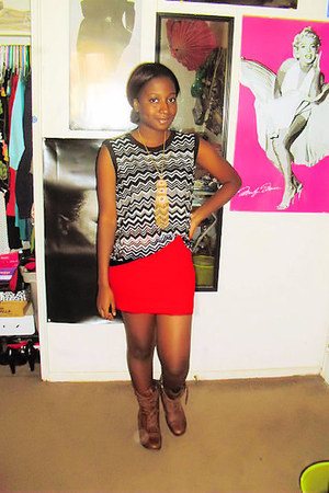 Forever 21 necklace - zig zag Missoni sweater - H&M skirt