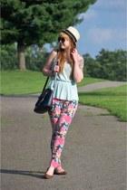 hot pink floral Target jeans - eggshell Gap hat - navy vintage coach bag