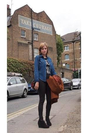 Topshop coat - Topshop leggings - Zara shirt - Rokit bag - new look wedges