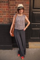 H&M hat - vintage from Ebay bag - Topshop blouse - Swedish Hasbeens for H&M sand
