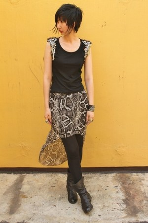 from hong kong skirt - Joy & Peace boots - Mango leggings - from hong kong top